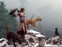 Artemis with Dogs and Hawk stock illustration