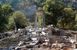 Artemis-Hadrian寺庙在Termessos的, Antalya。 库存照片