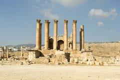 Artemis temple,Jerash. Corinthian columns in Artemis temple,Jerash Royalty Free Stock Image
