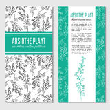 Artemisia absinthium, absinthe wormwood, Wormwood Healing herb hand drawn vector ink doodle sketch , Absinth. Plant, Vector cards, banners, seamless pattern for Royalty Free Stock Image
