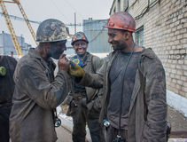 Artemivs'k,乌克兰- 2013年8月, 06日:矿工矿名为Artem 库存照片