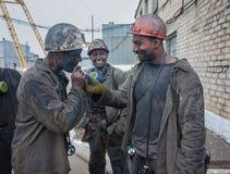 Artemivs'k, Ουκρανίας - 06 Αυγούστου, 2013: Ανθρακωρύχοι ονομασμένο ορυχείο Artem Στοκ Φωτογραφίες