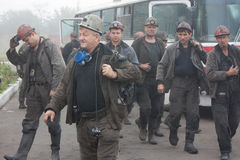 Artemovsk, Ucrania - 6 de agosto de 2013: Leva de Artem del nombre de la mina de los mineros Fotos de archivo libres de regalías