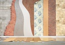 Arten der Beschichtung Bodenbelaginstallation stock abbildung