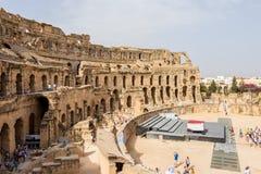 Arten des römischen Amphitheatre in der Stadt von EL Jem, Tunesien lizenzfreies stockbild