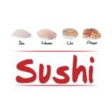 Arten des Sushihintergrundes Stockbild