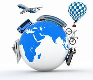 Arten des Transportes auf einer Kugel. Konzept des internationalen Tourismus Lizenzfreies Stockfoto