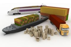 Arten des Transportes des Transportierens sind Lasten Stockfoto