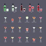 Arten des Wermuts und der Cocktails mit Wermut, Satz flache Ikonen Stockfotos