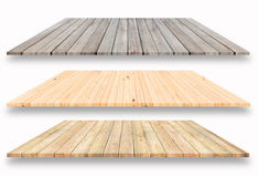 3 Arten hölzerne Plankenregale und weißer Hintergrund, für Produktdi stockfoto