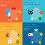 Arten von Allergenen Infographics Stockfotos