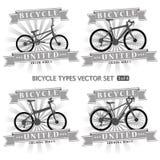 Arten von Fahrrädern in Form von Schattenbildern Stockfoto