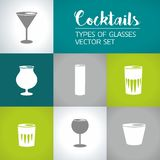 Arten von Gläsern, Cocktailikonen-Vektorsatz Stockfotos