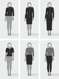 Arten von Kleidungs-, Schwarzen und Grauenzeichnungen der Frauen Lizenzfreie Stockfotos