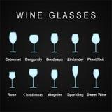 Arten von Wein-Gläsern, stellten Ikonen ein Auch im corel abgehobenen Betrag Stockfotografie