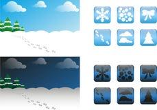 2 Arten Weihnachtshintergründe und -knöpfe/-ikonen Stockbilder