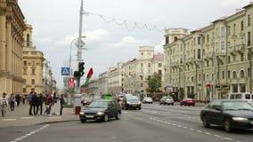 Arteria principale di trasporto di Minsk video d archivio