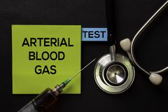 Arterial Blood Gas - Test on top view black table with blood sample and Healthcare/medical concept stock photos