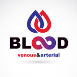 Arterial and venous blood, blood circulation conceptual vector i Royalty Free Stock Photos
