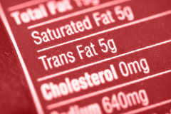 Artery choke. Nutritional label with focus on high Trans Fats stock photography