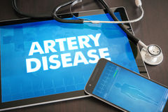 Artery disease (cardiology related) diagnosis medical concept on. Tablet screen with stethoscope stock images