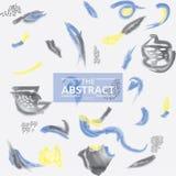 Artes abstractos amarillos azules del cepillo de la acuarela de la pintura del handrawn Foto de archivo