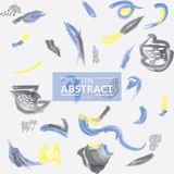 Artes abstratas amarelas azuis da escova da aquarela da pintura do handrawn Foto de Stock
