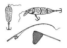 Artes de pesca Bosquejo del vintage del vector Fotos de archivo libres de regalías