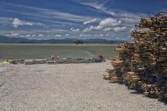 Artes de pesca e fontes prontas para ser usado por pescadores Fotos de Stock Royalty Free