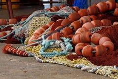 Artes de pesca en el suelo Fotografía de archivo libre de regalías