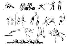 Artes marciais, judô, boxe de treino do encaixotamento, ciclismo, cercando o duelo, voleibol, jogo de basquetebol, tiro ao arco,  ilustração do vetor