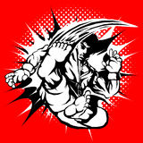 Artes marciais, karaté, taekwondo populares criativos etc. caráter masculino cruel do lutador mostrado o movimento super do ponta ilustração do vetor