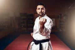 Artes marciais, lutador no quimono branco, cinturão negro Fotografia de Stock