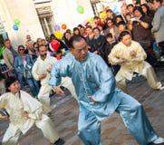 Artes marciales chinos en festival de luna en París Imágenes de archivo libres de regalías