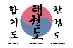 Artes marciales coreanos con el yin coreano yang Fotografía de archivo libre de regalías