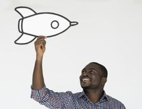 Artes sonrientes Rocket Studio Portrait del arte de papel de la felicidad del hombre Imagen de archivo