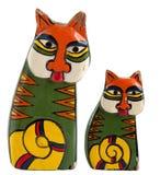 Artesanía de madera de la muñeca del gato de la pintura Imágenes de archivo libres de regalías