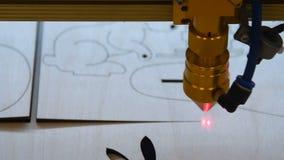 Artesanía en madera con el laser almacen de metraje de vídeo