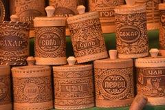 Artesanías hechas de corteza de abedul Imagen de archivo libre de regalías