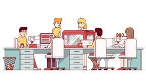 Artesano que trabaja junto en estudio del taller de DIY stock de ilustración