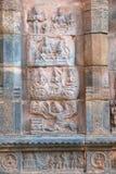 Artesone la representación de Ravana Kailasa de sacudida, pared septentrional del mandapa, templo de Airavatesvara, Darasuram, Ta Fotografía de archivo