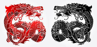 Artful Asian dragon black and red version Stock Images