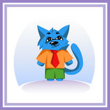 An artful blue cat. A card with an artful blue cat Royalty Free Stock Image