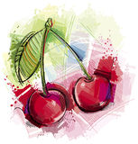 Artful Cherry. Sketchy Cherry  on white background Stock Images