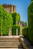 Artful decorated steps in the jardines, royal garden of the Alca. Photo of steps in Alcazar de los Reyes Cristianos, Cordoba, Spain, Europe Royalty Free Stock Image