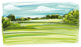 Artful Landscape. Digital painted Landscape with Agriculture and Plants Stock Image