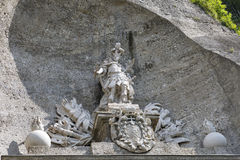 Artful ornaments at the historic gate Neutor in Salzburg, Austria stock photos
