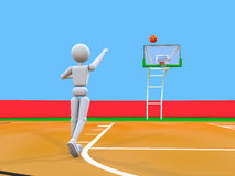 Artful throw volleyball player. 3d people - man person, on the basketball court, throwing the ball into the ring. Copy space Stock Image