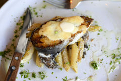 An artfully arranged fish steak. An artfully arranged fish dinner with cheese on top of pasta on plate Stock Photo