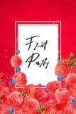 Artfully and lovingly designed Poster with raspberries, blackberries, strawberries and water splashes in the background royalty free stock images